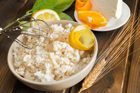 indispensable: cooked grain and boiled indispensable ingredient for pastiera Stock Photo