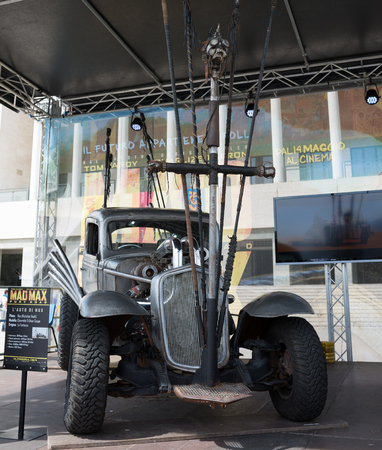 fury: NAPLES, ITALY- MAY 2: at the 17th edition of the international exhibition of comic Comicon, is Warner Bros with original vehicles of the film Mad Max Fury Road on  may 2, 2015 in Naples