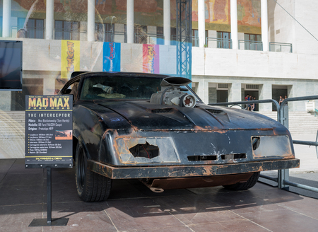 bros: NAPLES, ITALY- MAY 2: at the 17th edition of the international exhibition of comic Comicon, is Warner Bros with original vehicles of the film Mad Max Interceptor on  may 2, 2015 in Naples Editorial