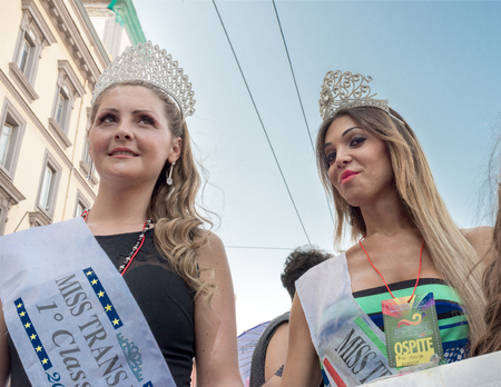 homophobia: NAPLES, ITALY- JULY 11Miss trans pose during  Gay Pride every year brings together thousands of gay people and not to claim the rights to sexual freedom and against homophobia on  july 11, 2015 in Naples