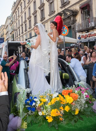 transgression: NAPLES, ITALY- JULY 11:simulation of a same-sex marriage to claim rights to sexual freedom to the legalization of gay marriage on  july 11, 2015 in Naples Editorial