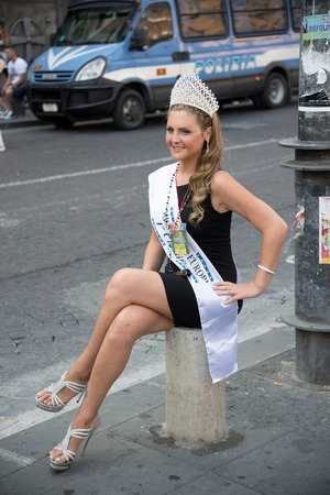 homophobia: NAPLES, ITALY- JULY 11:Miss trans pose during  Gay Pride every year brings together thousands of gay people and not to claim the rights to sexual freedom and against homophobia on  july 11, 2015 in Naples