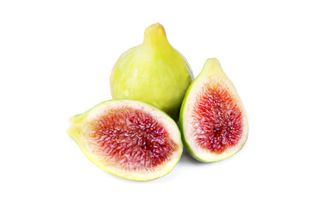 white figs sliced on white background