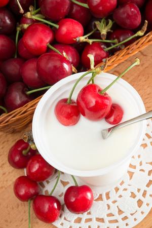 lowfat: low-fat plain yogurt creamy cherries flavor