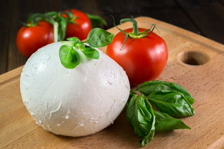 buffalo mozzarella with red tomatoes and fresh basil Foto de archivo