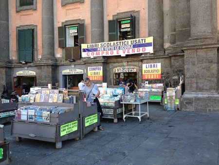 historically: NAPLES, ITALY- SEPTEMBER 23, 2015: Dantesquare is historically linked to the presence of a number of libraries which we see one of the oldest historical center on september 23, 2015 in Naples - Italy Editorial