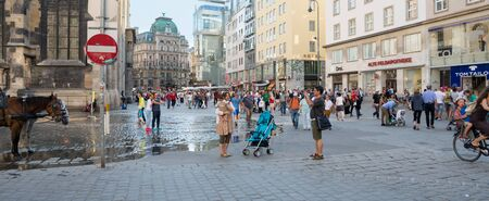 stephansplatz: VIENNA, AUSTRIA - JULY 31, 2015: people walking in the historic Stephansplatz center of Vienna on  july 31, 2015 in Vienna
