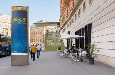 picasso: VIENNA, AUSTRIA - JULY 31, 2015: exterior of  Albertina Museum during the exhibition of artists Picasso and Monet on  july 31, 2015 in Vienna