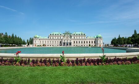 princely: WIEN - AUGUST 1: View of Belvedere Castle since 1712 is a masterpiece of Baroque Austrian and one of Europes most beautiful princely residences on august 1, 2015 in Wien