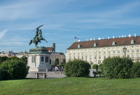 archduke: VIENNA, AUSTRIA - JULY 31: Statue of Archduke Karl, in complex of the Imperial Hofburg Palace was the center of power and the Austrian part of the palace is now the residence and workplace of the President of Austria on  july 31, 2015 in Vienna