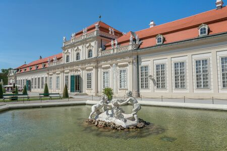 princely: WIEN - AUGUST 1: view of  to Belvedere Unteres  Castle since 1712 is a masterpiece of Baroque Austrian and one of Europes most beautiful princely residences on august 1,2015 in Wien Editorial