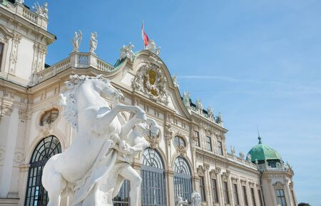 wien: WIEN - AUGUST 1: view of  to Belvedere Unteres  Castle since 1712 is a masterpiece of Baroque Austrian and one of Europes most beautiful princely residences on august 1,2015 in Wien Editorial