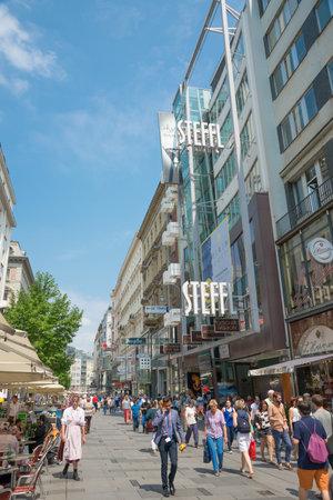 stephansplatz: VIENNA, AUSTRIA - AUGUST 3, 2015: people walking in the historic Stephansplatz center of Vienna on august 3, 2015 in Vienna