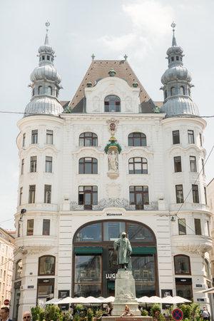gutenberg: VIENNA - AUGUST 3: Johannes Gutenberg memorial with statue by Jerzy Plecnik and Othmar Shimkovitz build in 1897 at Lugek strasse on august 3, 2015 in Vienna