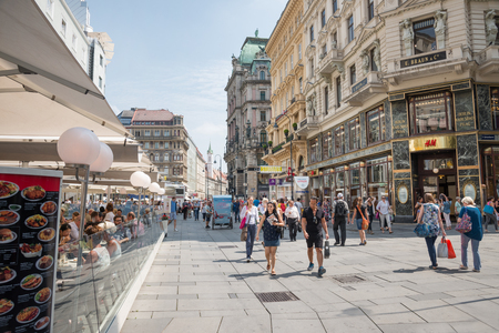 VIENNA, AUSTRIA - AUGUST 3, 2015: people walking in the famous shopping Graben street center of Vienna on august 3, 2015 in Vienna