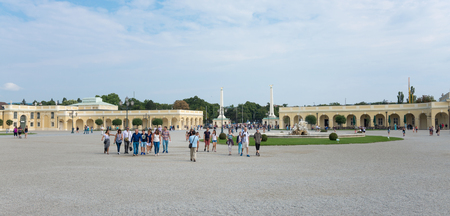 schoenbrunn: WIEN - AUGUST 3: People at entrance of Schoenbrunn Sissi Castle. Since 1996 the palace and the garden have been declared World Heritage by UNESCO. on august 3,2015 in Wien