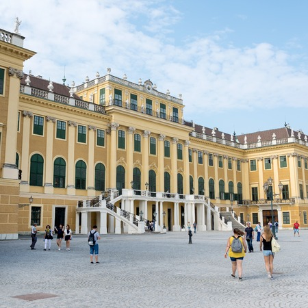 schoenbrunn: WIEN - AUGUST 3: View of Schoenbrunn Sissi Castle. Since 1996 the palace and the garden have been declared World Heritage by UNESCO. on august 3,2015 in Wien