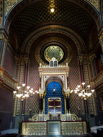 synagogues: Interior of Jewish  synagogue - Prague - Czech Editorial