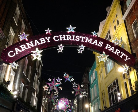 nightshot: Nightshot of Carnaby Street district in Christmas time Editorial
