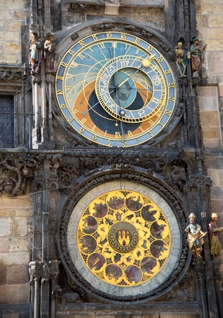 praga: Detail view of  astronomical clock tower in Pragues Old Town Square