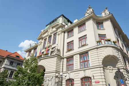 stare mesto: PRAGUE - AUGUST 4: historic and elegant Hotel Nova Radnice in Stare Mesto  district on august 4,2015 in Prague - Czech Editorial