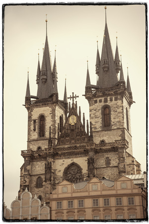 praga: Vintage effect postcard Tyn Church in Prague - Czech Republic Stock Photo