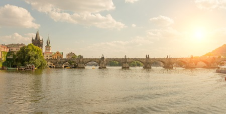 subset: View from the river of the Charles Bridge at sunset - Prague - Czach Republic Stock Photo