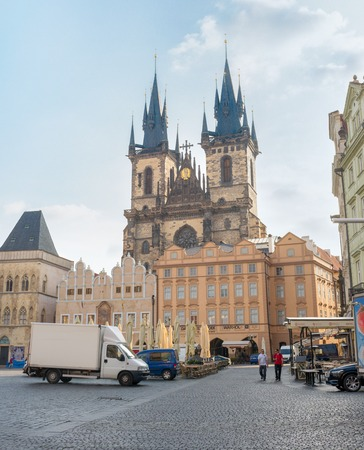 everyday scenes: PRAGUE - AUGUST 4: everyday scenes of clock square at dawn, before it is full of people  on august 4,2015 in Prague - Czech Republic Editorial