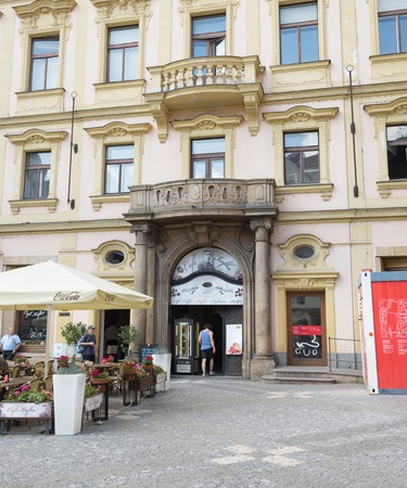 grew: PRAGUE - AUGUST 4: Bar named after the famous writer Franz Kafka was born in 1883 and grew up artistically in Prague on august 4,2015 in Prague - Czech Republic