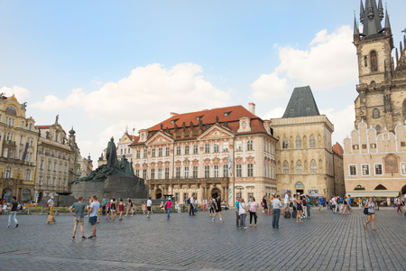 theologian: PRAGUE - AUGUST 4:Old Town Square with a monument to Jan Hus, a theologian and religious reformer of 1300 on august 4,2015 in Prague - Czech Republic