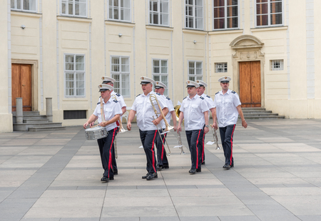 military watch: PRAGUE, AUGUST 5: military band. At 12 noon of every day is possible to watch the changing of the guards ceremony on august 5, 2015 in Prague - Czech Republic Editorial