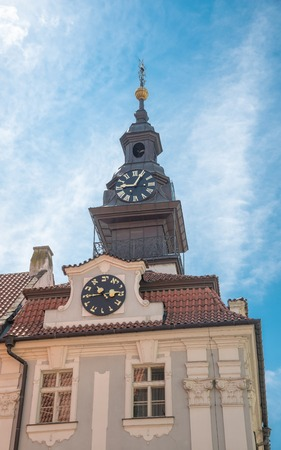 jewish town: Tower of the Jewish Town Hall, with its clock whose hands turn counterclockwise, according to the Hebrew script.