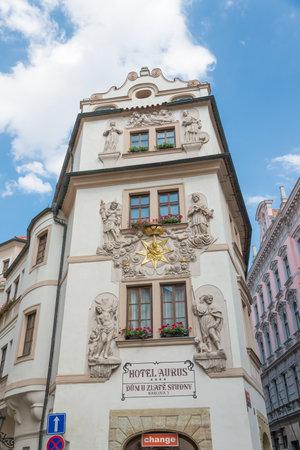 stare mesto: PRAGUE - AUGUST 5: historic and elegant Hotel Aurus in Stare mesto district on august 5,2015 in Prague - Czech