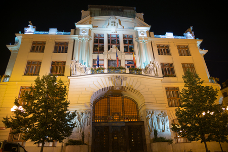 stare mesto: PRAGUE - AUGUST 5: A night view of historic and elegant Hotel Nova Radnice in Stare Mesto district on august 5.2015 in Prague - Czech
