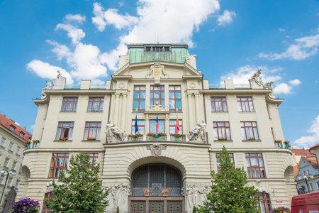 stare mesto: PRAGUE - AUGUST 5: historic and elegant Hotel Nova Radnice in Stare mesto district on august 5,2015 in Prague - Czech