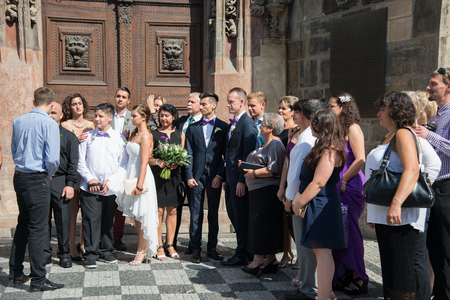 transgression: PRAGUE,AUGUST, 6 2015: in 2006 the Parliament passed the law on the recognition of civil unions. Same-sex couples the same rights as heterosexuals, such as marriage.The only exception that is not allowed for to adopt children.