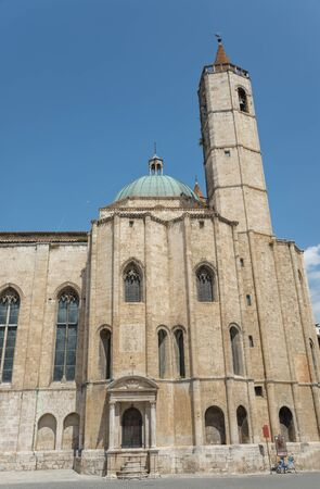 st  francis: ASCOLI PICENO, ITALY- AUGUST 25:The church was founded to commemorate the visit of St. Francis in 1215 while being dedicated in 1371 to St. John the Baptist on august 25, 2015 in Ascoli - IT