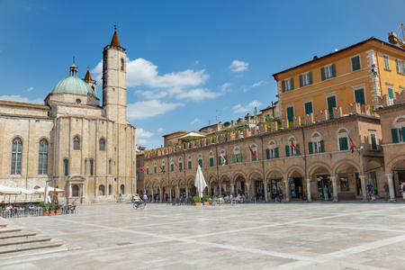 ASCOLI PICENO, ITALY- AUGUST 25: people in Peoples Square. It is a popular square in the Renaissance style of the city of Ascoli Piceno on august 25, 2015 in Ascoli - IT