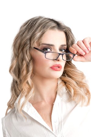 Blonde cute young businesswoman with glasses Archivio Fotografico