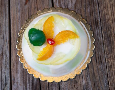 candied: cake typical Sicilian cassata with ricotta and candied fruit