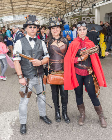 elysium: NAPLES, ITALY- APRIL 22: cosplay Elysium pose during the 18th edition of the International Cartoon Comicon on  april 22, 2016 in Naples