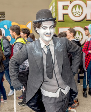 chaplin: NAPLES, ITALY- APRIL 22: cosplay Charlie Chaplin pose during the 18th edition of the International Cartoon Comicon on  april 22, 2016 in Naples