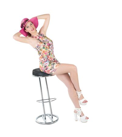 pink hat: cute girl expressive with pink hat and white shoes Stock Photo