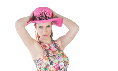 pink hat: cute girl expressive with pink hat on white background