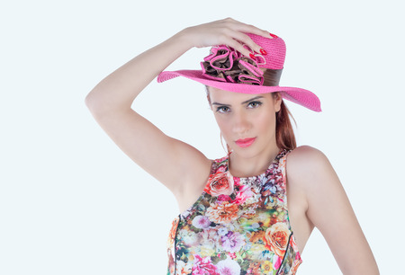 pink hat: cute girl expressive with pink hat Stock Photo