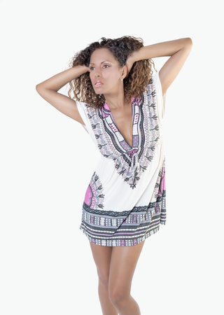 ethnic dress: Brazilian woman with curly hair and ethnic dress Stock Photo