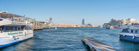 BARCELONA, SPAIN- AUGUST 2: panoramic view of Barcelona Port with boat tour for tourist. Editorial