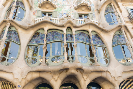 antoni: BARCELONA, SPAIN- AUGUST 2: undefined tourist in  Casa Batllo made  by Antoni Gaudi in 1877 and UNESCO World Heritage Site on  august 2, 2016 in Barcelona - Spain Editorial