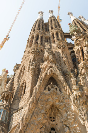 BARCELONA, SPAIN- AUGUST 3: Architecture details of Sagrada Familia by Antoni Gaudi. it is the most visited monument in Spain with 3.2 million visitors every year on  august 3, 2016 in Barcelona - Spain