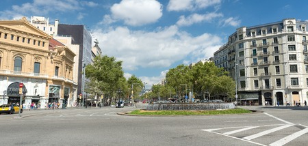 gran via: BARCELONA, SPAIN- AUGUST 6: fountain in Gran Via de les Corts Catalanes and view of the city on  august 6, 2016 in Barcelona - Spain